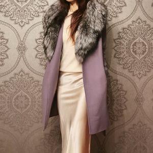 Michael Kors real fox fur wool coat